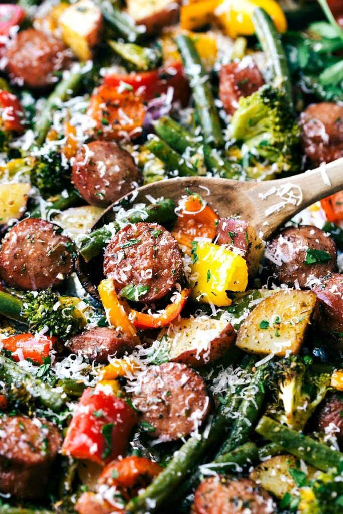 One Pan Healthy Sausage And Veggies Chelsea S Messy Apron