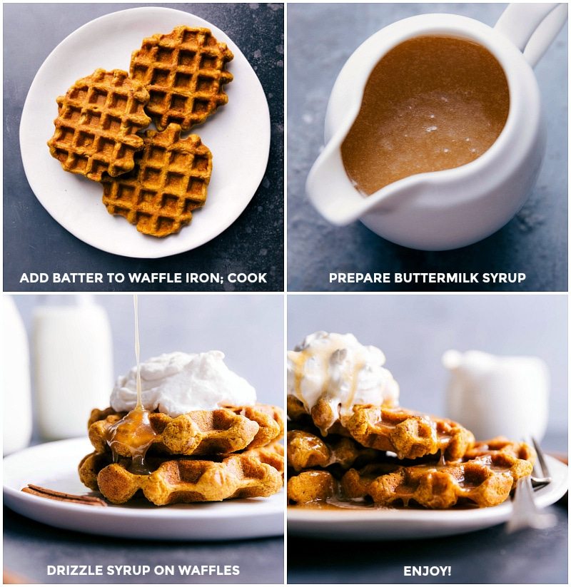 Process shots: cooked waffles; prepared buttermilk syrup; drizzle the syrup over the waffles and whipped cream; ready to eat.
