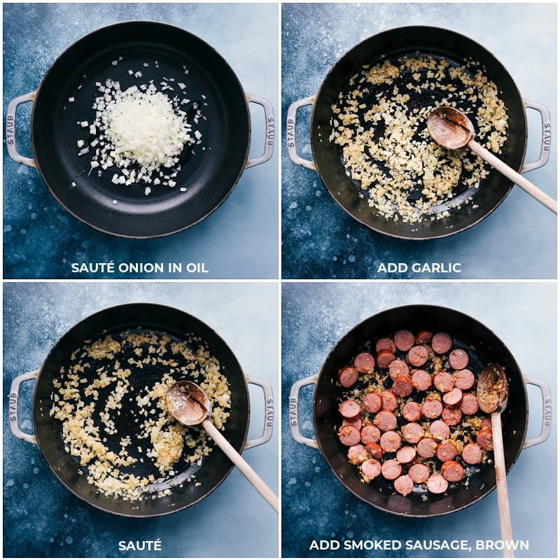 Process shots-- sautéing onion, garlic and sausage.