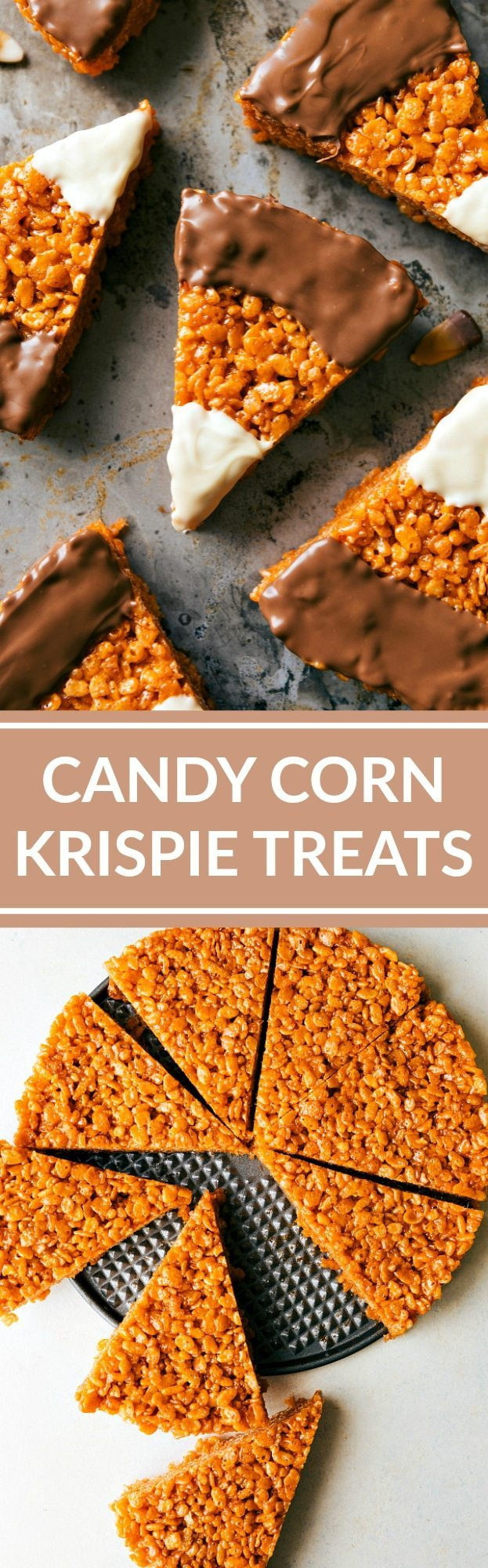 CANDY CORN KRISPIE TREATS! The absolute best peanut butter krispie treats decorated to look like candy corns with melted white and milk chocolate topping! Recipe via chelseasmessyapron.com