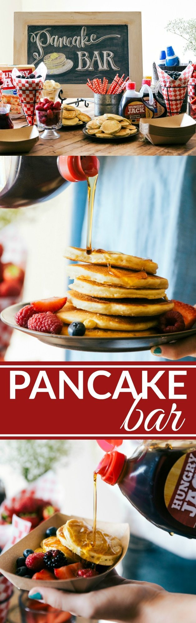 A great idea for a party, baby shower, wedding shower, birthday, etc. An easy PANCAKE BAR with a SPARKLING JUICE BAR! (Non alcoholic) Recipes via chelseasmessyapron.com