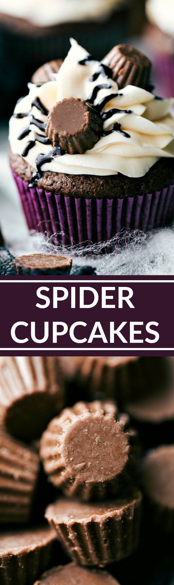 Easy decorated Spider Cupcakes. Recipe and VIDEO TUTORIAL via chelseasmessyapron.com