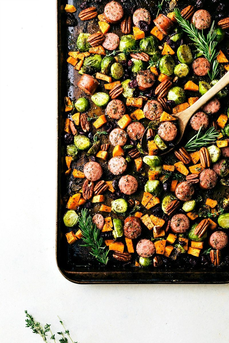 An easy one pan meal -- harvest sausage and veggies via chelseasmessyapron.com