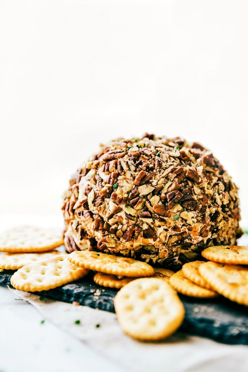 A five-minute, easy appetizer! This bacon-ranch, pecan-coated cheeseball is sure to be a hit at any party! via chelseasmessyapron.com