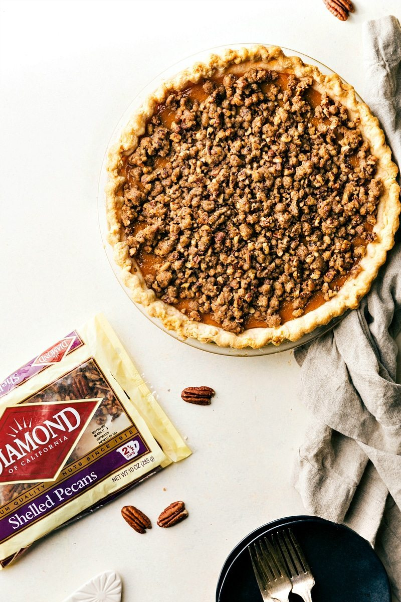 Pecan Streusel topped Pumpkin Pie with delicious 2-ingredient Maple Whipped Cream via chelseasmessyapron.com