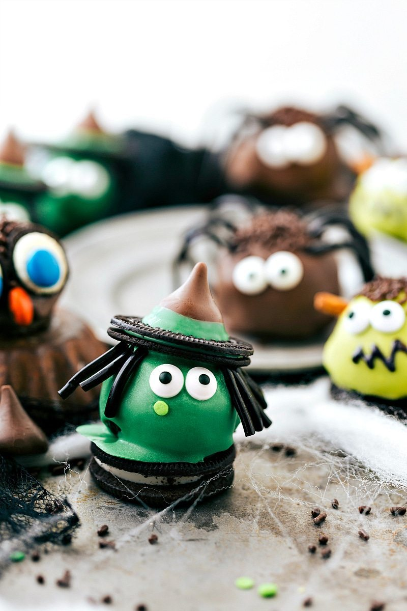 Four different ways to dress up an oreo ball for Halloween -- a witch, spider, frankenstein, and an owl. Easy and delicious treats that are perfect for a party! via chelseasmessyapron.com
