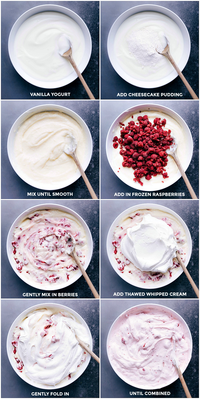 Process shots: Stir together the vanilla yogurt and the dry pudding mix; add in frozen raspberries and thawed whipped topping. Fold gently.