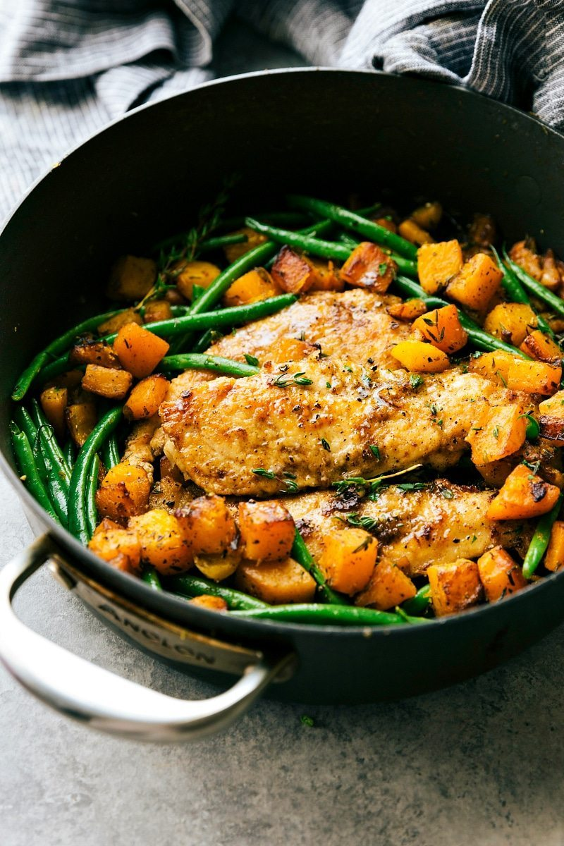 A delicious pan seared chicken, butternut squash, and green bean skillet dinner. An easy, family-friendly, 30-minute meal! Recipe from chelseasmessyapron.com