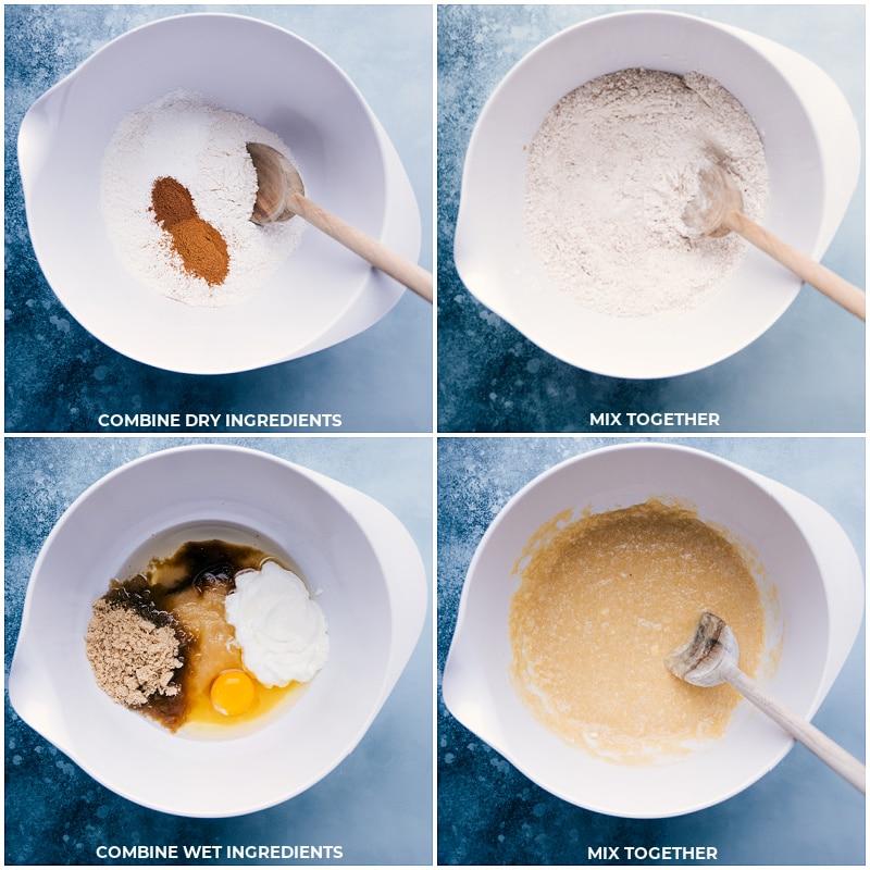 Process shots: combine dry ingredients; mix; combine wet ingredients; mix all.
