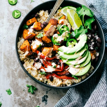 Easy Sweet Potato & Black Bean Burrito Bowls