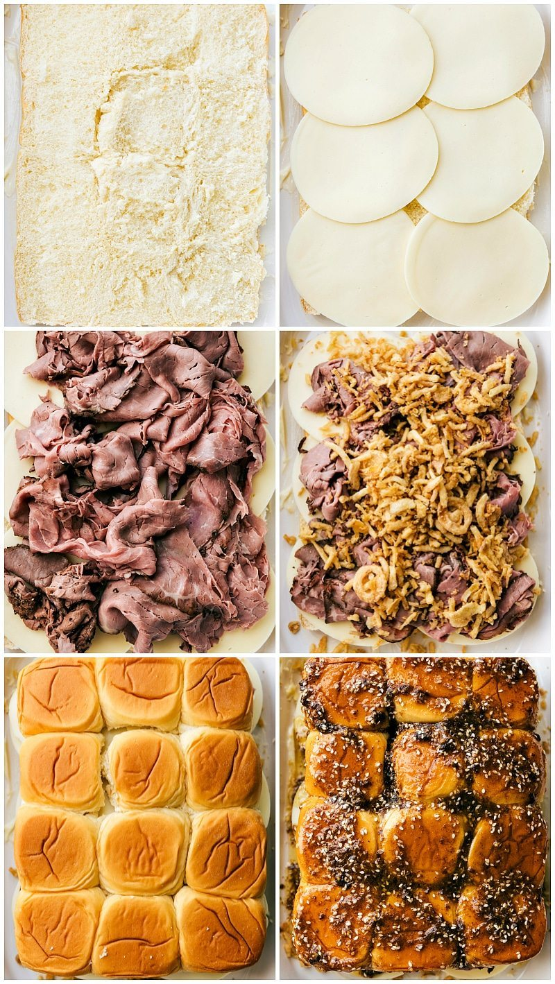 The best possible version of French Dip sandwiches -- made into SIMPLE oven-baked sliders with a delicious buttery topping! via chelseasmessyapron.com