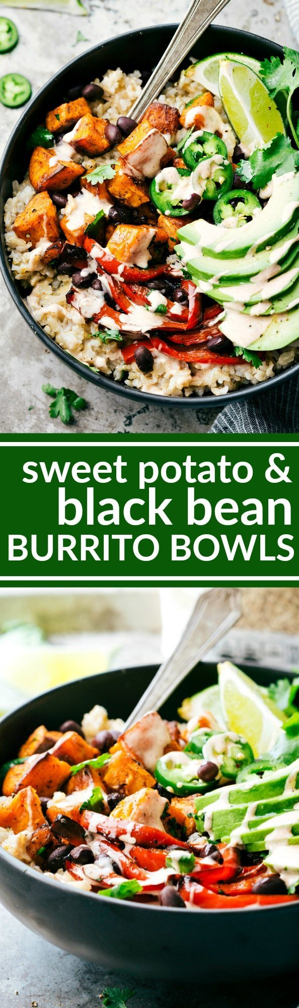 SWEET POTATO BURRITO BOWLS! A delicious and simple to make veggie black bean burrito bowls -- brown rice, seasoned & roasted sweet potatoes + bell peppers, black beans, and avocado with the most incredible chipotle lime sauce. via chelseasmessyapron.com