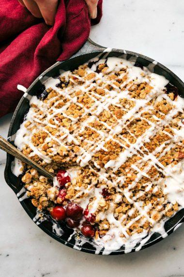 Easy Skillet Tart Cherry Crisp