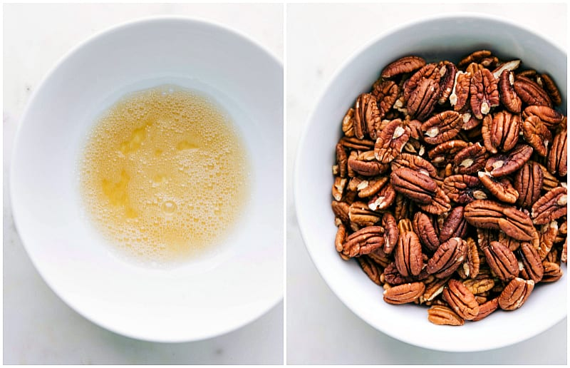 Process shots of candied pecans recipe -- egg white mixture and pecans