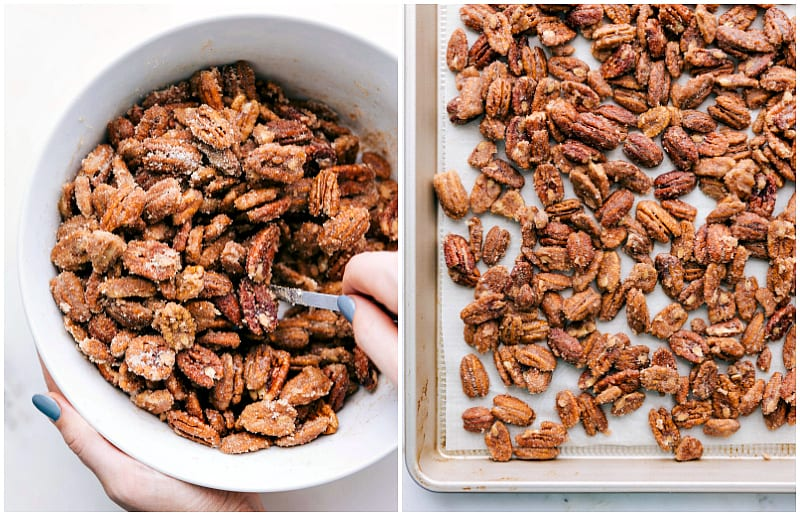 process shot showing candied pecans being stirred in a large bowl and then placed on a large tray