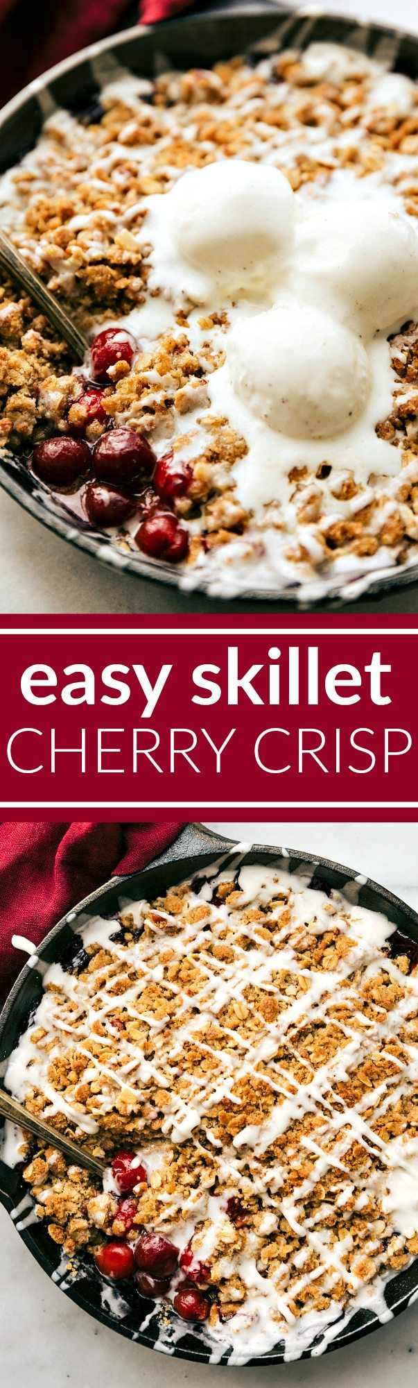 The BEST easy tart CHERRY CRISP -- packed with flavor and so easy to make! via chelseasmessyapron.com