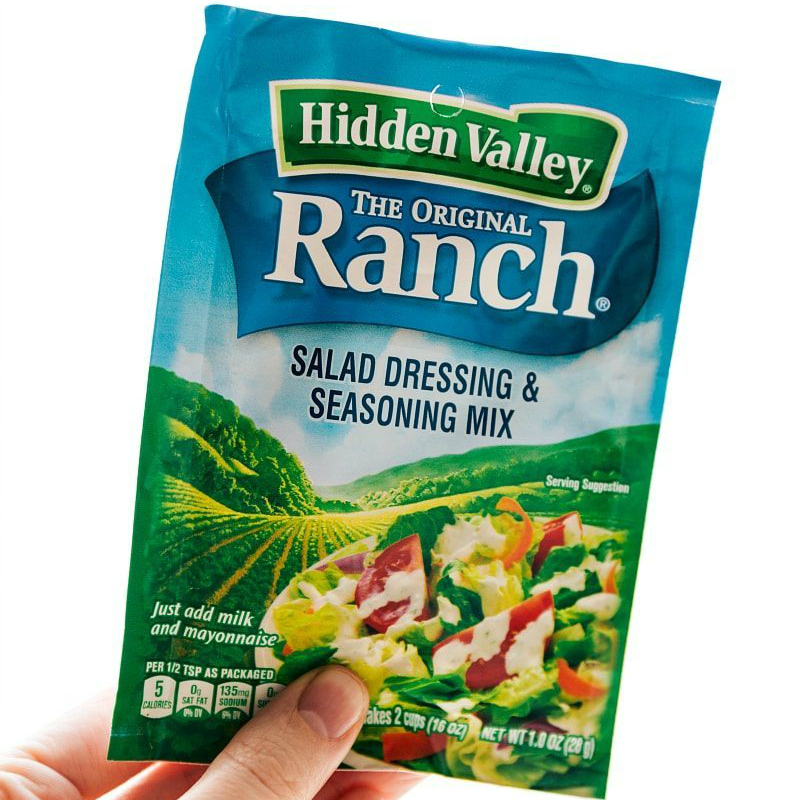 Image of the ranch salad dressing and seasoning mix used in Cheese Balls.