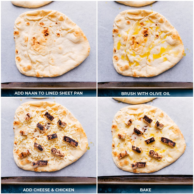 Process shots-- baking the naan bread, chicken and cheese