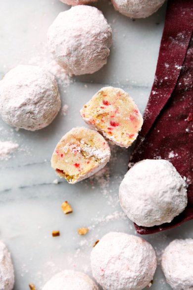 Peppermint Pecan Snowball Cookies