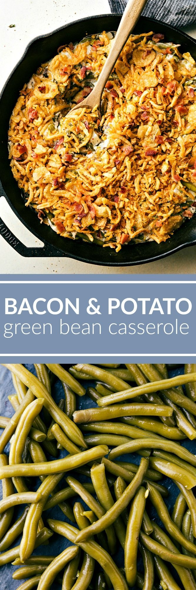 The classic green bean casserole with a fun southern twist -- adding potatoes and bacon! This super simple green bean casserole can be prepared in fifteen minutes! via chelseasmessyapron.com