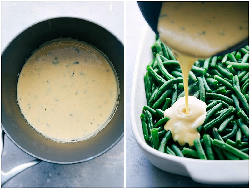 Image of the cream sauce being poured over the green beans for this bean casserole recipe
