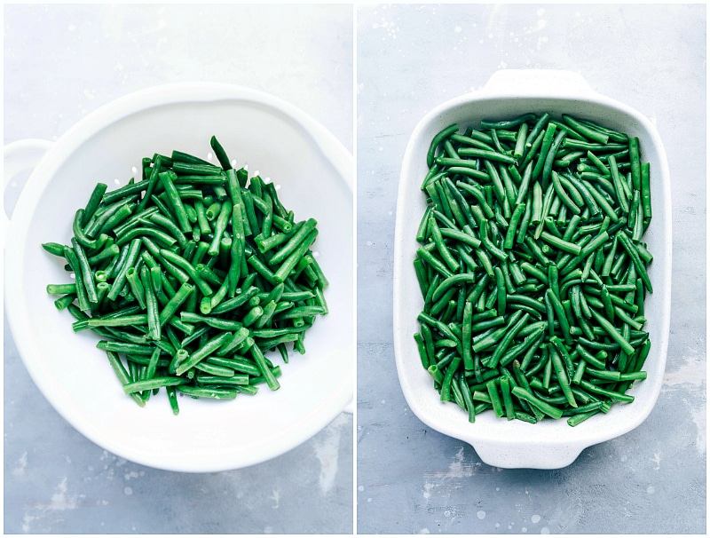 Image of the fresh green beans going into the casserole dish for this green bean casserole recipe
