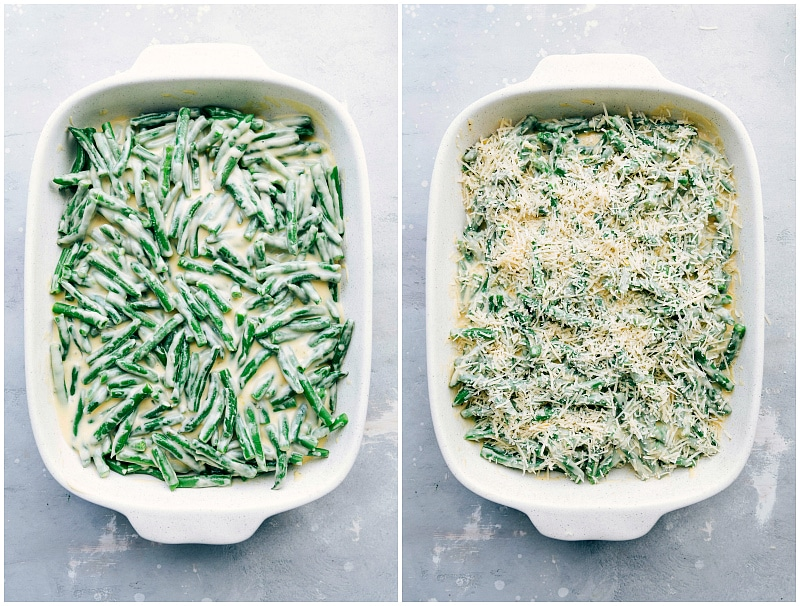 Image of the casserole dish with cheese being added over the green beans for this green bean casserole