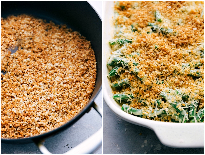 Image of the panko bread crumbs being toasted and added to the casserole dish