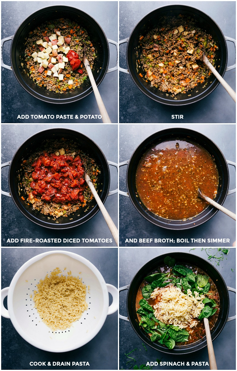Process shots: add tomato paste and potato to the soup; add diced tomatoes and beef broth and simmer; cook and drain orzo; add orzo and baby spinach.