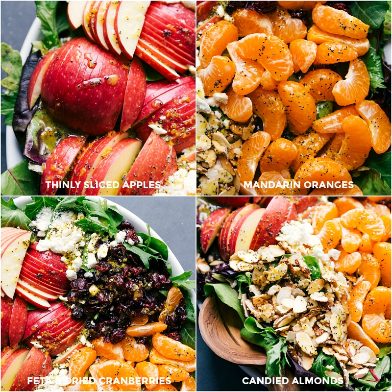 Images of the luscious toppings for this salad: thinly sliced apples, mandarin oranges, feta cheese, dried cranberries and candied almonds.