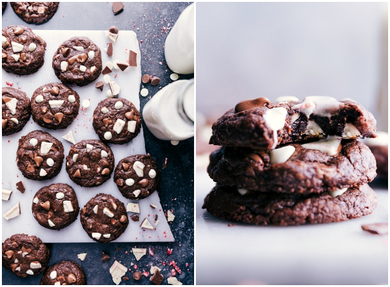 Images of the fresh-out-of-the-oven Peppermint Bark Cookies stacked on top of each other.