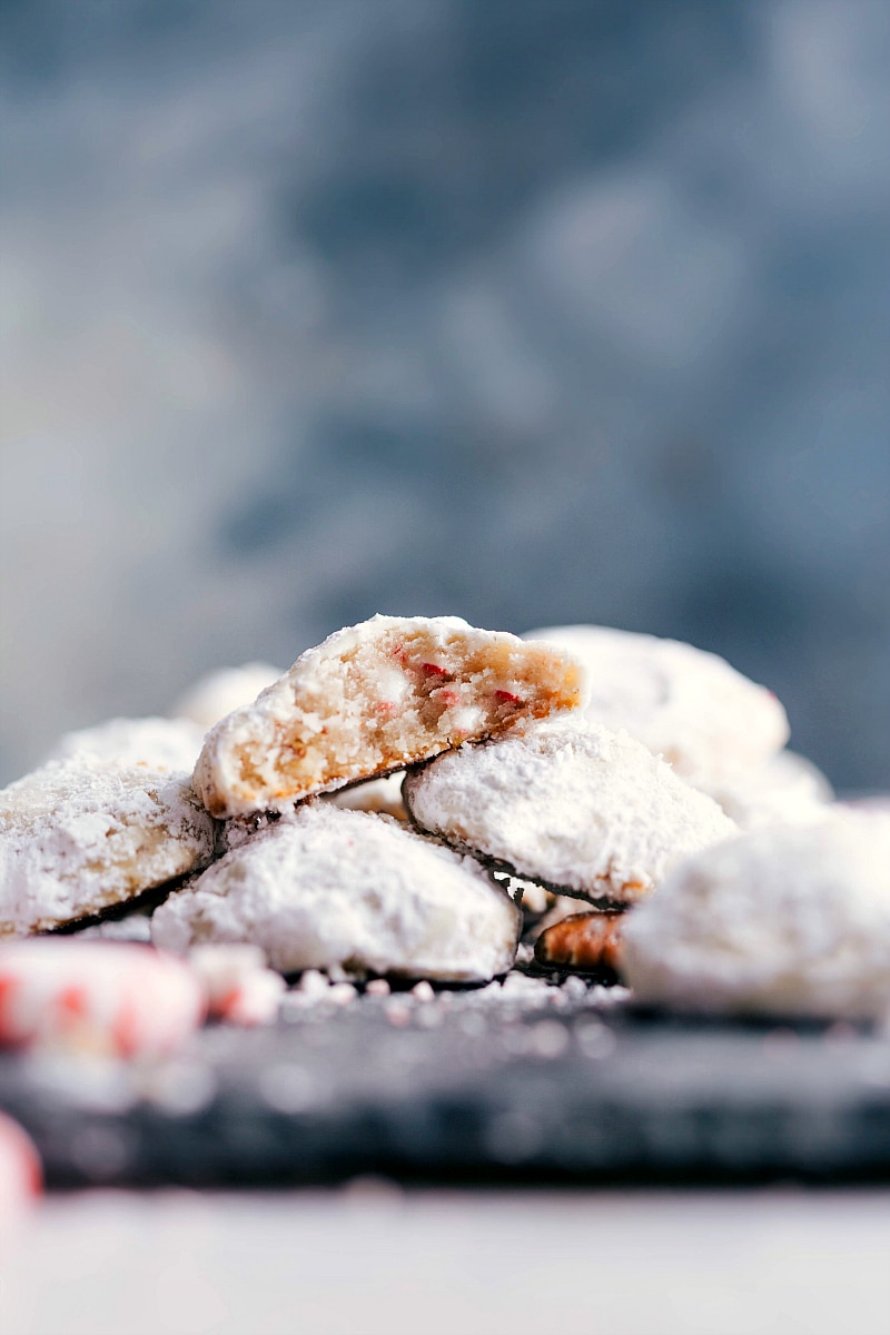Up-close image of Peppermint Snowball Cookies