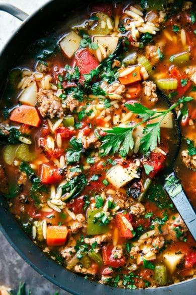 Italian Sausage & Orzo Soup
