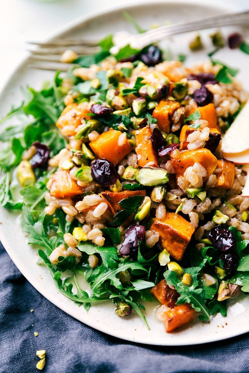 A hearty, healthy, and filling salad -- sweet apple cider farro, roasted sweet potatoes, arugula, and an easy blender lemon dressing.