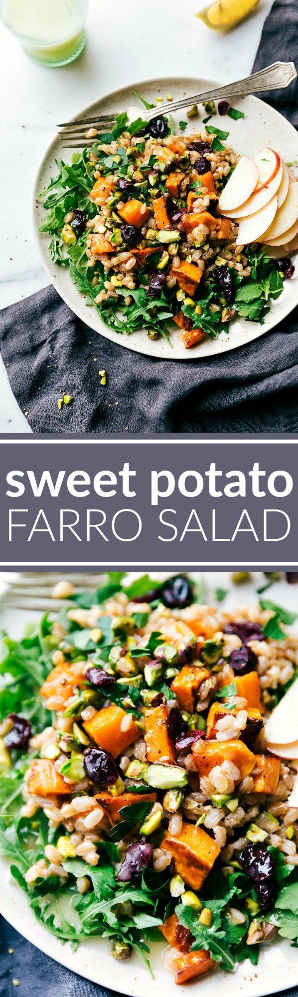 ROASTED SWEET POTATO SALAD. A hearty, healthy, and filling salad -- sweet apple cider farro, roasted sweet potatoes, arugula, and an easy blender lemon dressing. via chelseasmessyapron.com