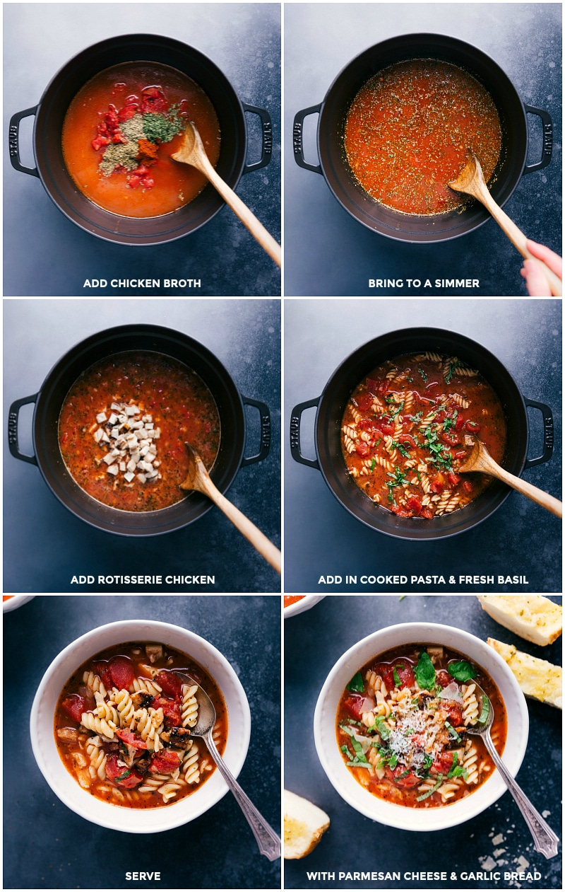 Collage showing the final steps to prepare Chicken Parmesan Soup.