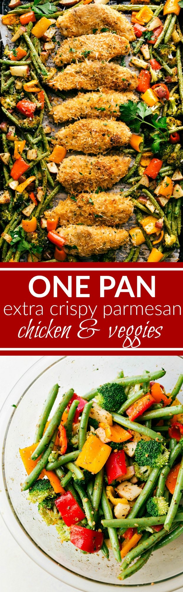 Baked EXTRA CRISPYparmesan chicken and veggies -- dinner made on one pan and packed with flavor! Sure to be a hit with the entire family! via chelseasmessyapron.com