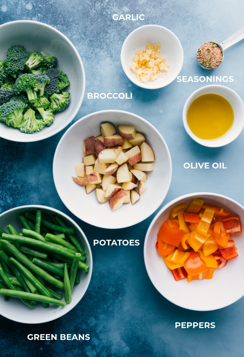 Ingredient shot-- image of all the ingredients used for the roasted veggies that go on this side of this dish