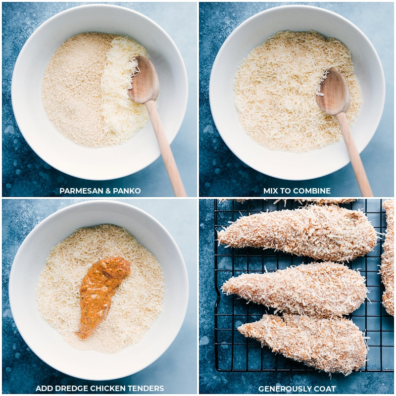 Process shots-- images of the parmesan and Panko mix being prepped and the chicken tenders being dredged in it