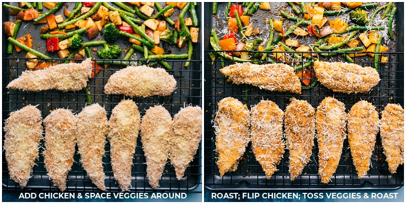 Process shots-- images of the chicken tenders being added to the sheet pan with the veggies on a cooling rack