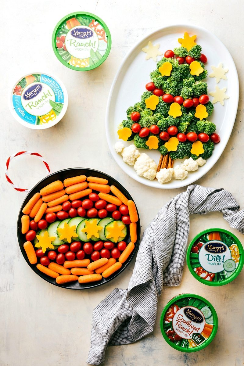 EASY Holiday Veggie Platters!! Two easy ways to dress up your holiday veggie platters! A Christmas Tree and an Ornament made out of veggies with delicious dips! via chelseasmessyapron.com