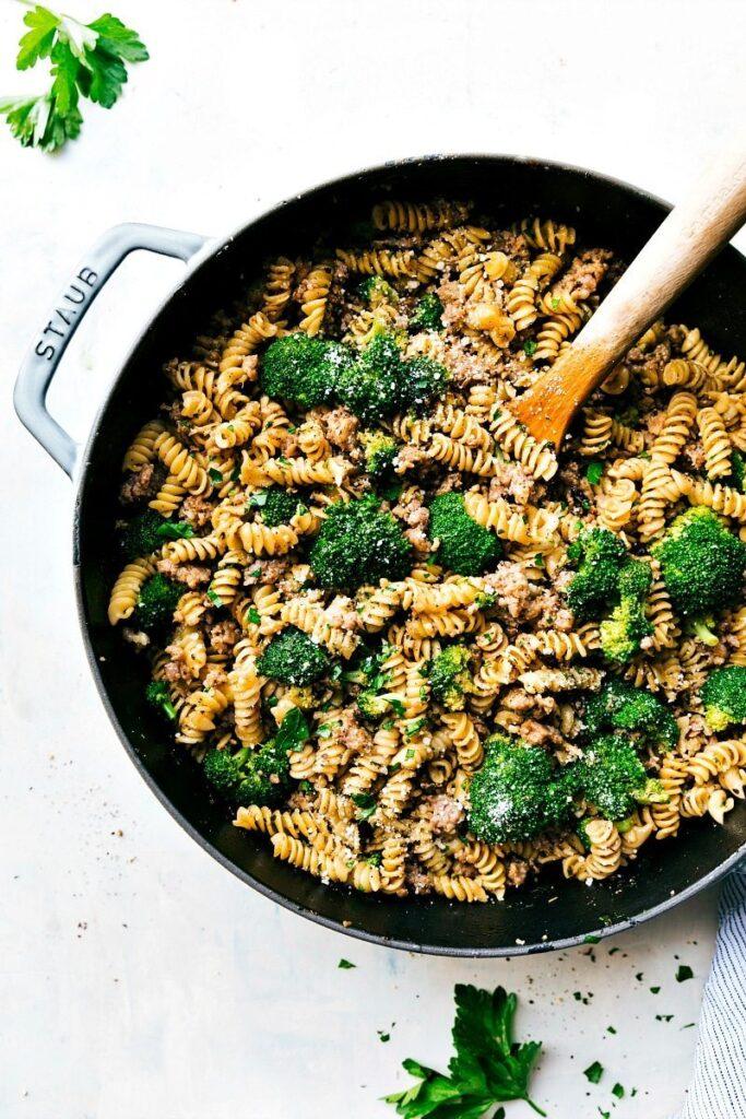 One Pan Sausage, Broccoli, & Parmesan Pasta
