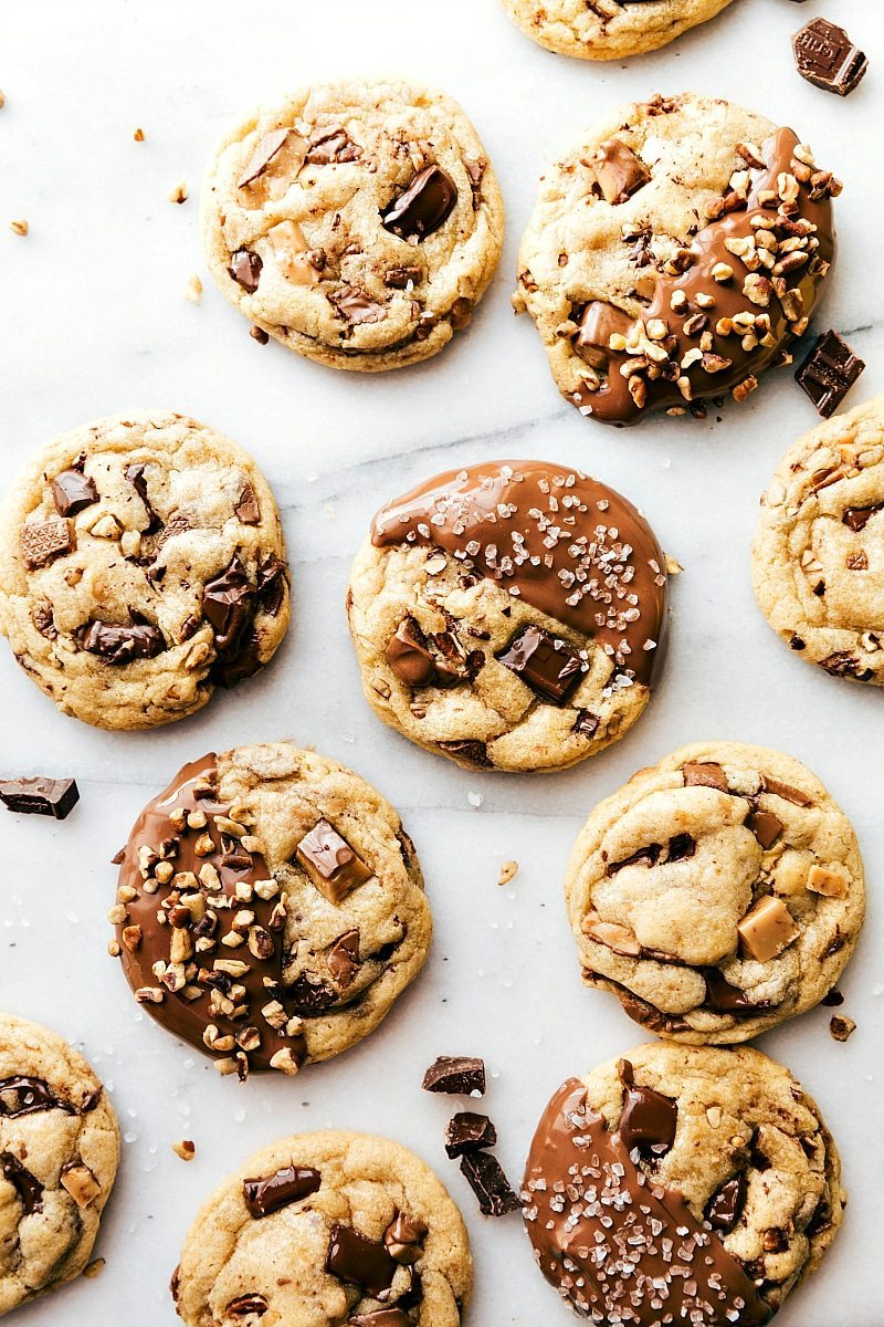 Chocolate Dipped Toffee Pecan Cookies - Chelsea's Messy Apron