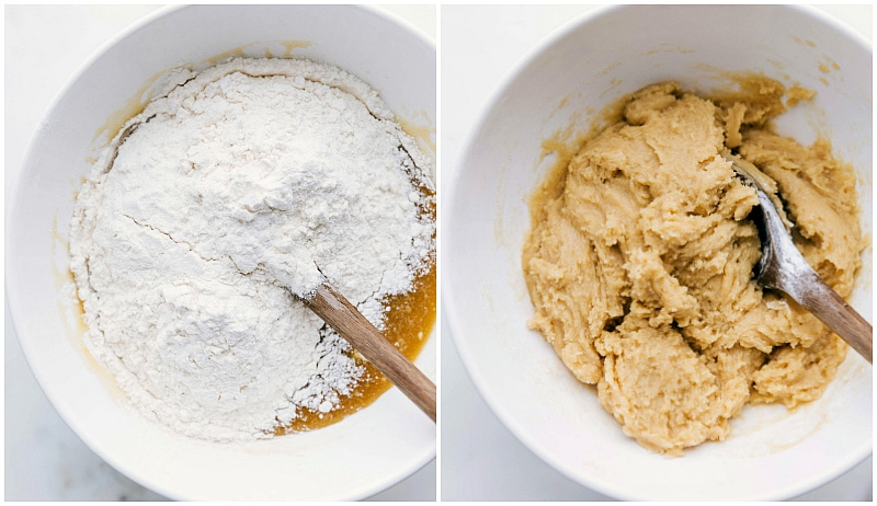 Image of the dry ingredients being added to the wet and then mixed for this white chocolate macadamia nut cookie recipe