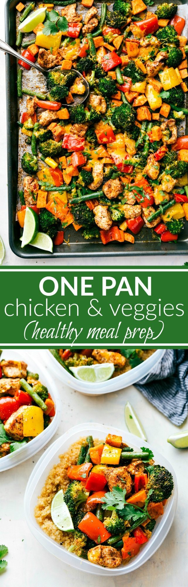 One Pan Healthy Chicken and Veggies - a great healthy way to meal prep for the week!via chelseasmessyapron.com