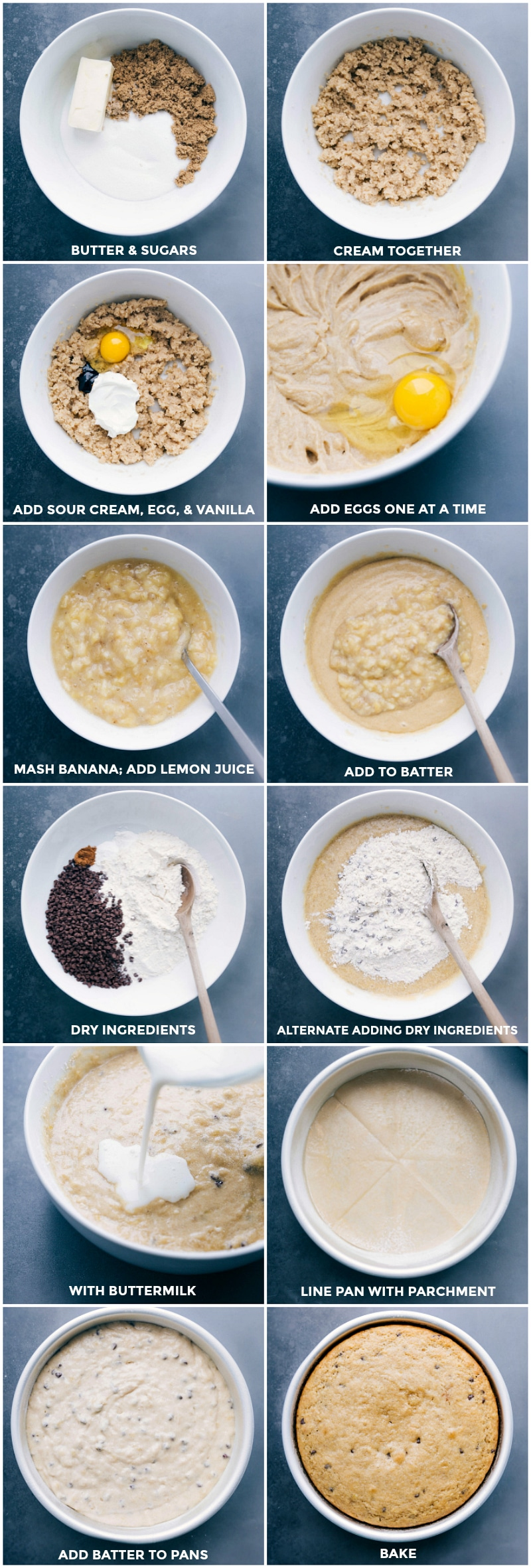 Images of the wet and dry ingredients being mixed together; poured into a prepared cake pan; and being baked.