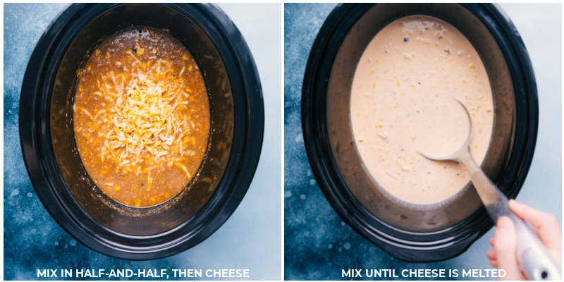Process shots-- images of the half and half and cheese being added to the soup