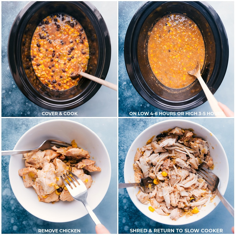 Process shots of chicken corn chowder-- images of the recipe being cooked and the chicken being removed and shredded and returned to the slow cooker.