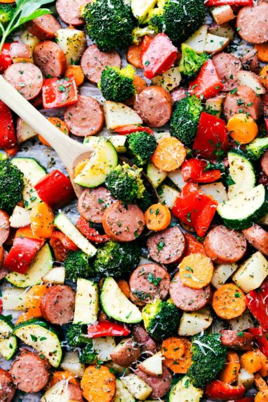 One Pan Healthy Italian Sausage & Veggies