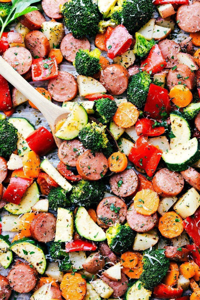 One Pan Healthy Italian Sausage & Veggies! Easy and delicious! chelseasmessyapron.com